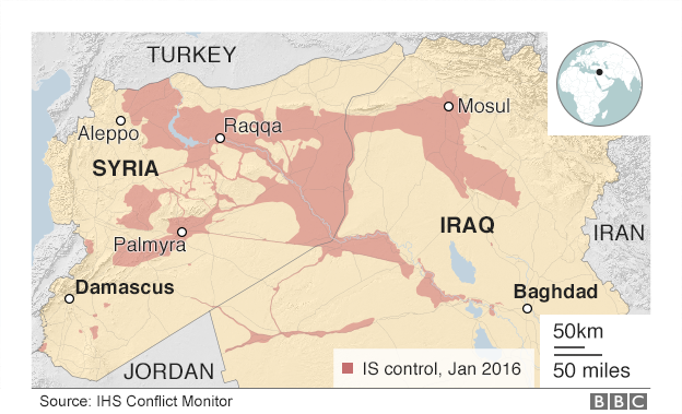 Areas under IS control, Iraq and Syria Jan 2016