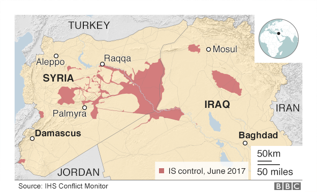 Areas under IS control, Iraq and Syria June 2017