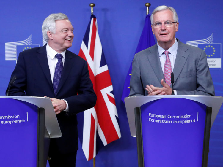 David Davis and Michel Barnier as talks begin in Brussels