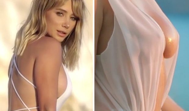 Sara Underwood flashes nipples as she gets wet and wild in Greece