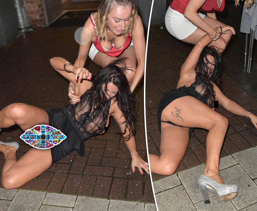 Big Brother's Simone Reed flashes nipples and FULL undercarriage while on a night out