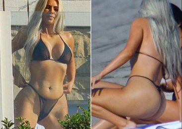 Kim Kardashian's enormous booty spills from see-through thong bikini with NOWHERE to hide