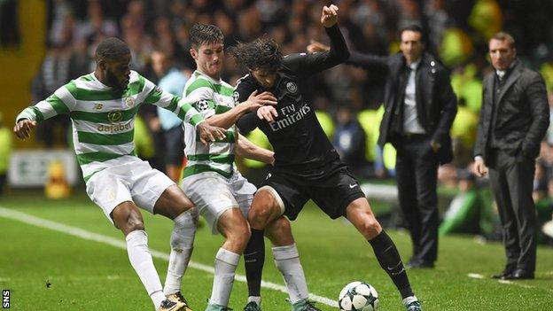 Uefa charges Celtic after fan runs on to pitch 'and aims kick at Mbappe'