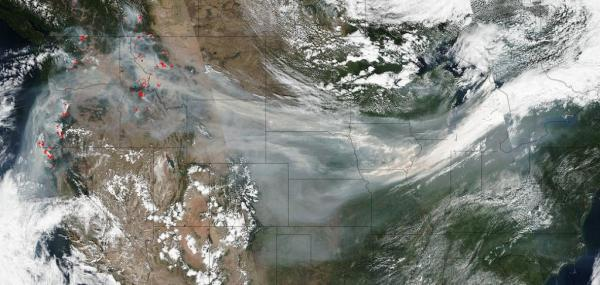 Satellite images show wildfire smoke spreading across United States