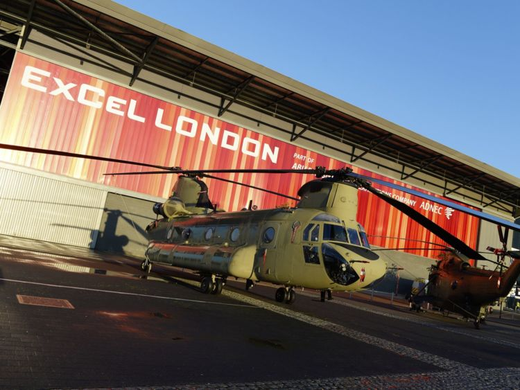 Rotary craft on display at DSEI. Pic: DSEI