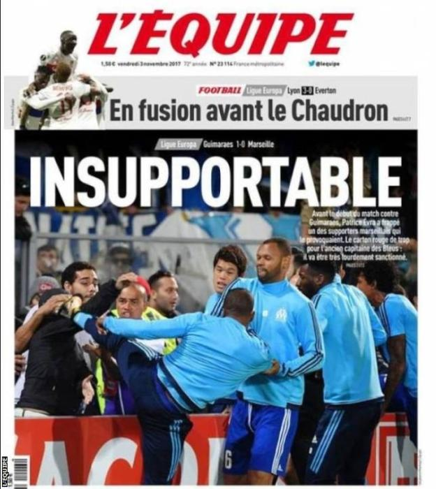 Marseille suspend Evra for kicking fan in the head