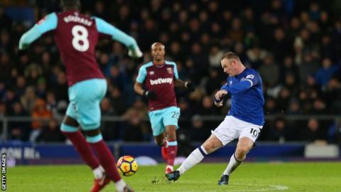 Rooney wonder goal as Allardyce watches Everton thrash West Ham