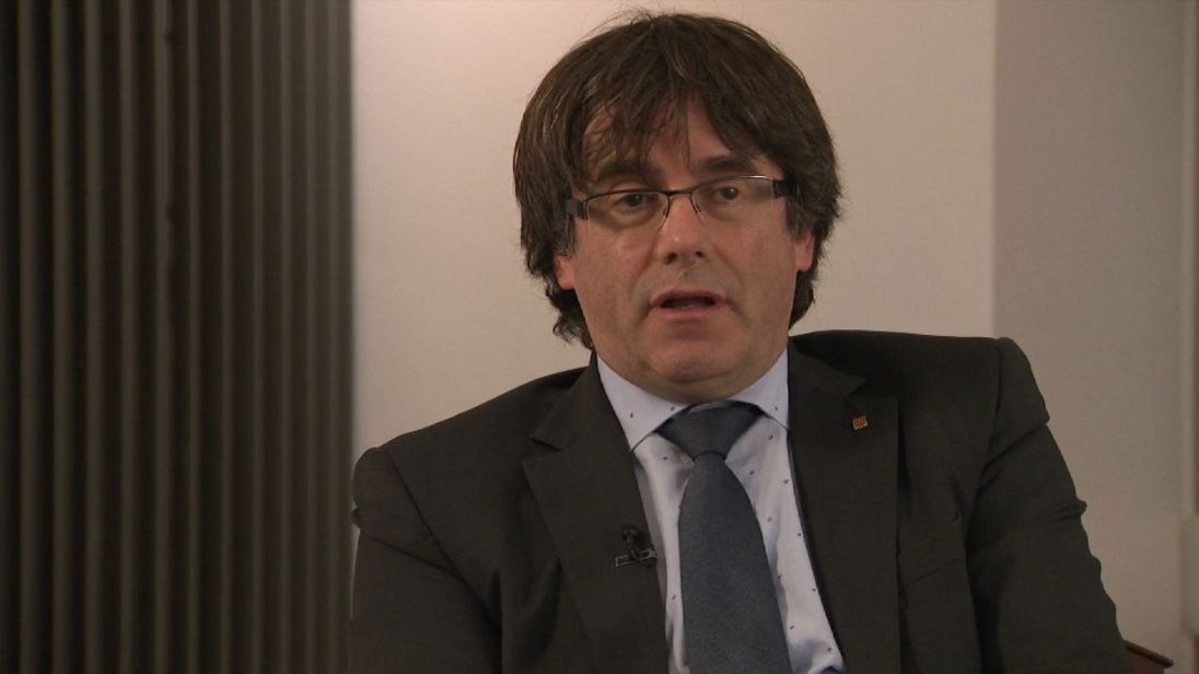 Disputed Catalan President Carles Puigdemont speaks to Sky's Mark Stone