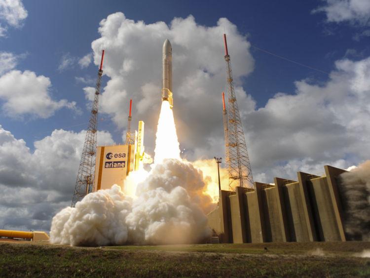 Ariane Flight VA233 carrying four European Galileo navigation satellites launches November 15, 2016 in Kourou, French Guiana