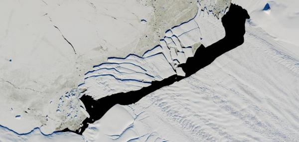 NASA satellite spots shattered iceberg beneath the Antarctica's midnight sun