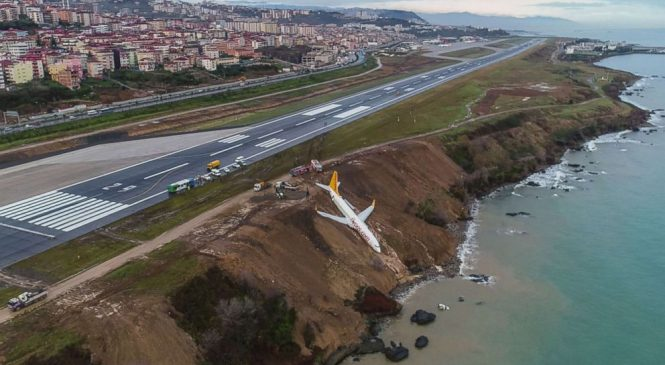 Plane in Turkey overshoots icy runway, stops on Black Sea cliff