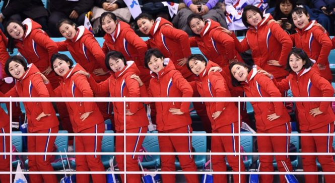 North Korea's cheerleaders steal spotlight at Winter Games with synchronized chants