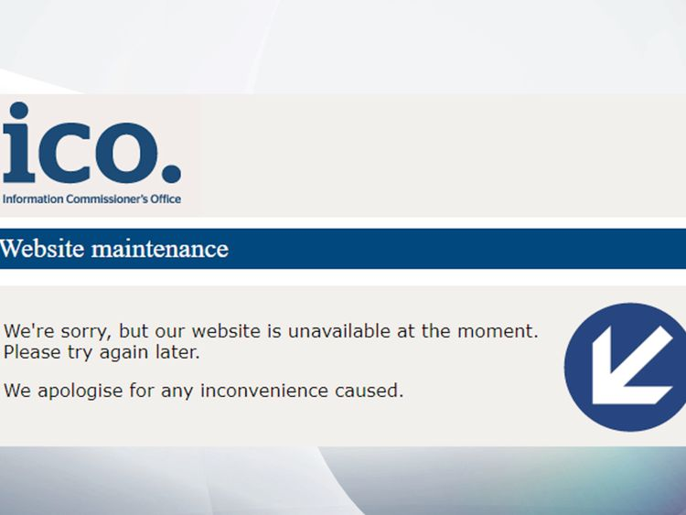 The ICO also took its site down