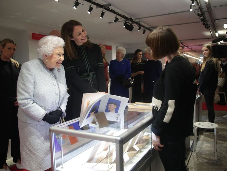 The Queen, next to BFC chief Caroline Rush, joked with a designer displaying her jewellery
