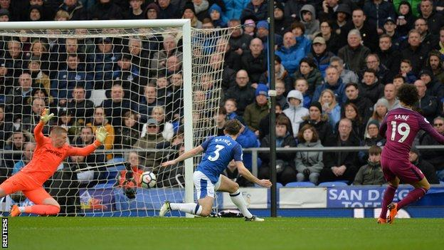 Man City one win from title after victory at Everton