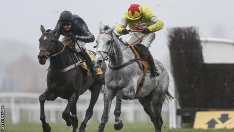 Altior (left) ridden by Nico de Boinville
