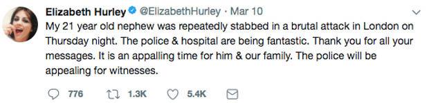 Elizabeth Hurley Miles Twitter post