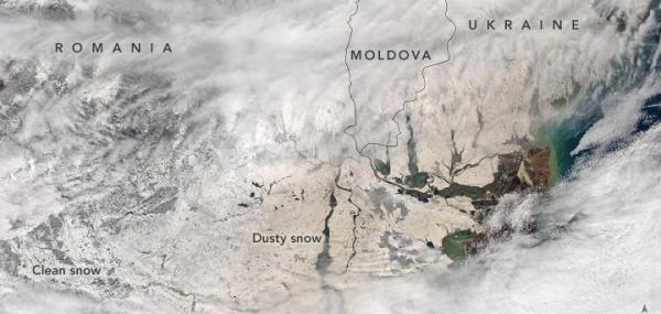 NASA satellite spots Eastern Europe's orange snow