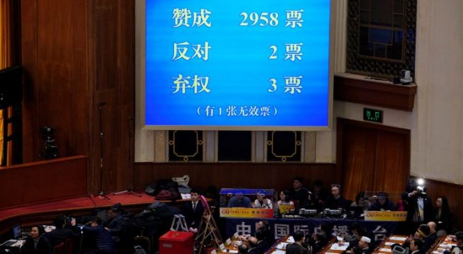 China scraps term limit on presidential rule