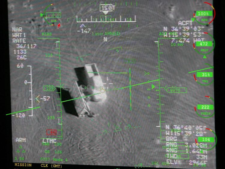 CREECH AIR FORCE BASE, NV - AUGUST 08: A pilot's heads up display in a ground control station shows a truck from the view of a camera on an MQ-9 Reaper during a training mission August 8, 2007 at Creech Air Force Base in Indian Springs, Nevada. The Reaper is the Air Force's first 'hunter-killer' unmanned aerial vehicle (UAV) and is designed to engage time-sensitive targets on the battlefield as well as provide intelligence and surveillance. The jet-fighter sized Reapers are 36 feet long with 66-