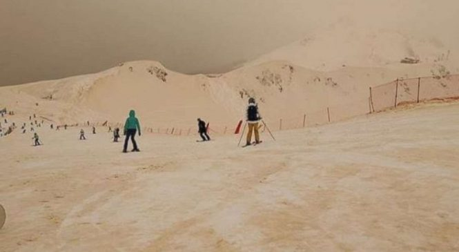 Orange-tinted snow makes ski resort look like Mars