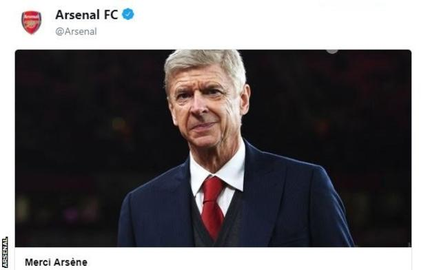 Arsenal tweet announcing Arsene Wenger's departure at the end of the season