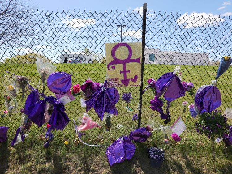 Tributes at Prince's Paisley Park estate following his death