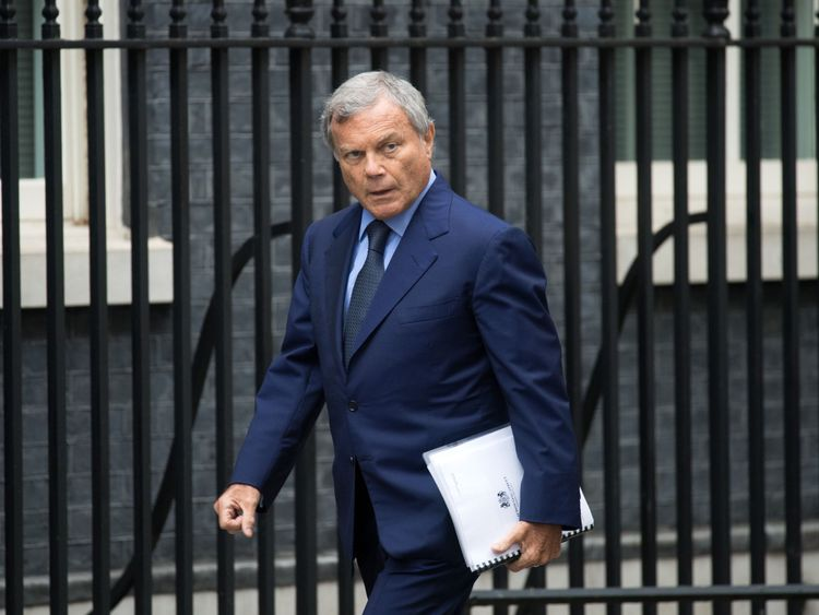 Martin Sorrell, chief executive of WPP, arrives in Downing Street to attend a meeting of business leaders hosted by Prime Minister Theresa May in October 2017