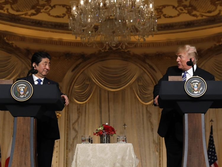 US President Donald Trump (R) speaks as he hosts a joint press conference with Japan's Prime Minister Shinzo Abe at Trump's Mar-a-Lago estate in Palm Beach, Florida, U.S., April 18, 2018