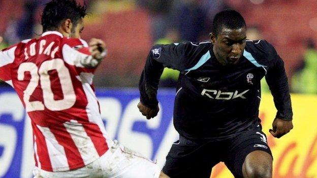 Jlloyd Samuel in action for Bolton in a Uefa Cup match against against Red Star Belgrade in 2007