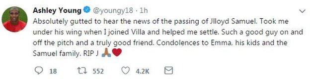 Manchester United left-back, and former Aston Villa team-mate, Ashley Young posted a tribute on Twitter
