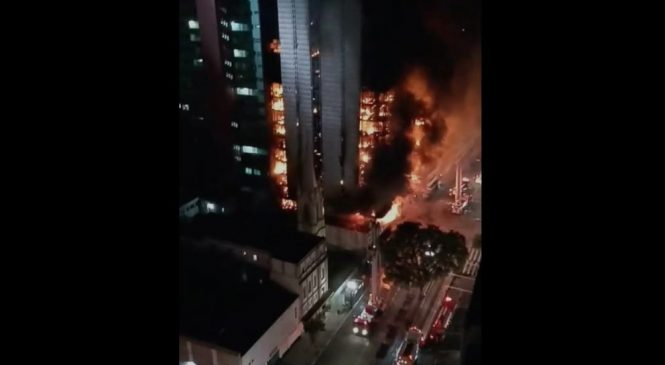 Massive high-rise fire causes building collapse; at least 1 dead