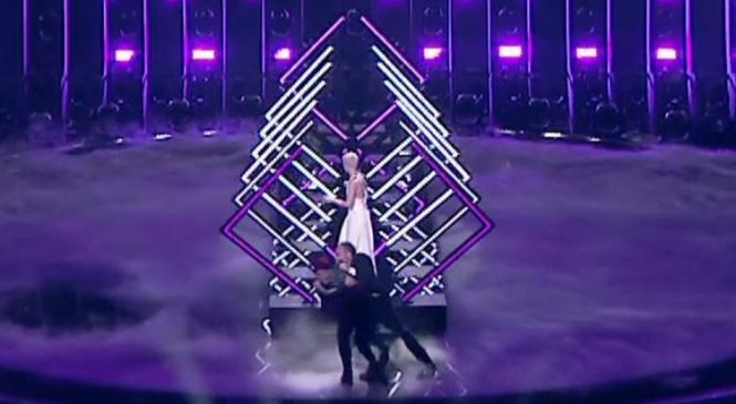 Stage invader grabs mic during UK Eurovision performance