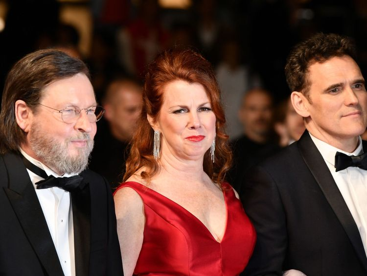 Director Lars von Trier (L) and actors Siobhan Fallon Hogan and Matt Dillon arrive for the screening