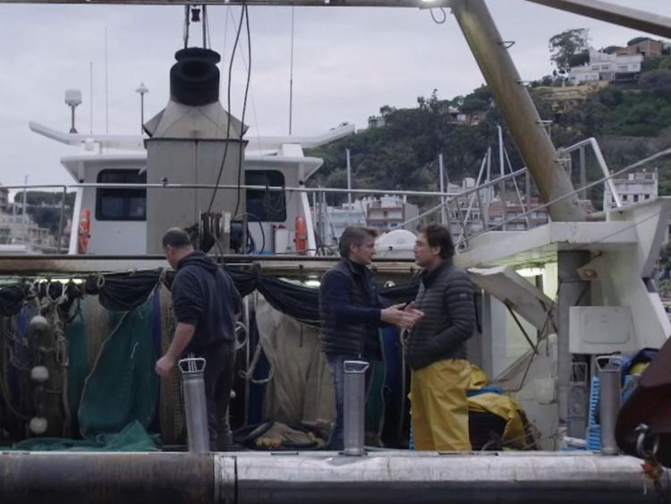 Javier Bardem on a Spanish fishing boat