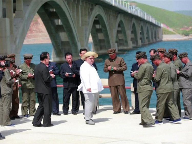 Kim Jong Un inspects a railway bridge