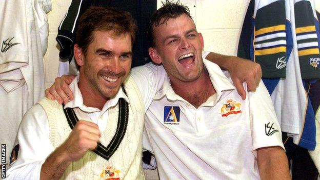 Adam Gilchrist (right) believes former Australia team-mate Justin Langer is the right man to take Australia forward