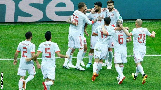 Diego Costa and Spain celebrate