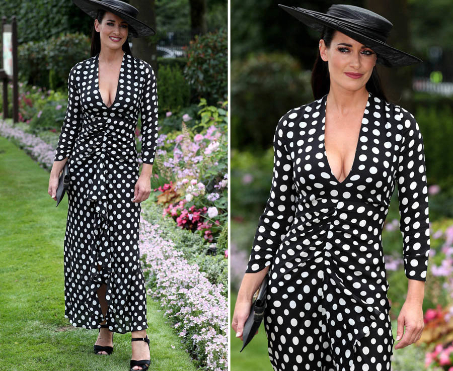 Kirsty Gallacher lets cleavage lead the way in plunging polka-dot outfit at Royal Ascot