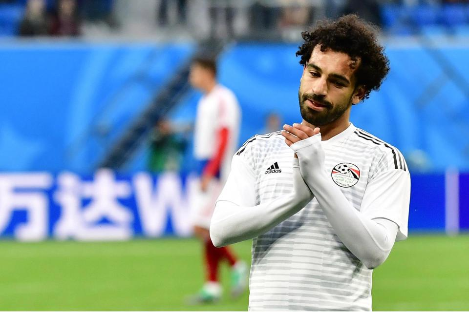 Egypt superstar Mohamed Salah look frustrated against Russia.
