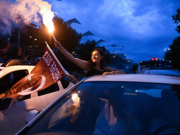 Recep Tayyip Erdogan's supporters celebrate in Istanbul