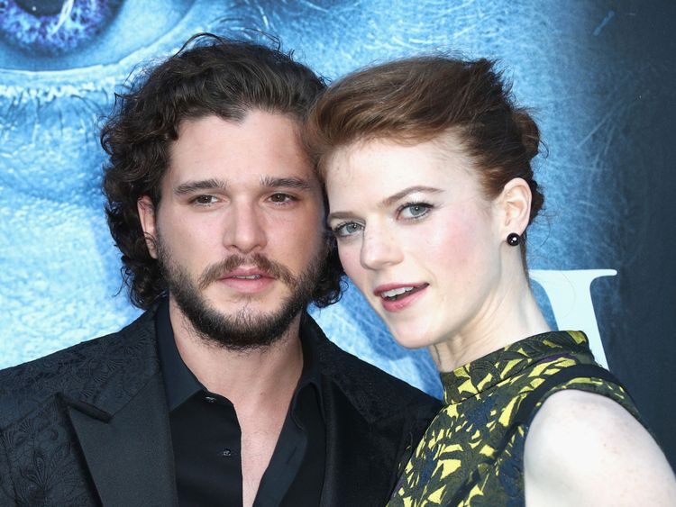 Kit Harington and Rose Leslie attend the premiere of Game Of Thrones season 7