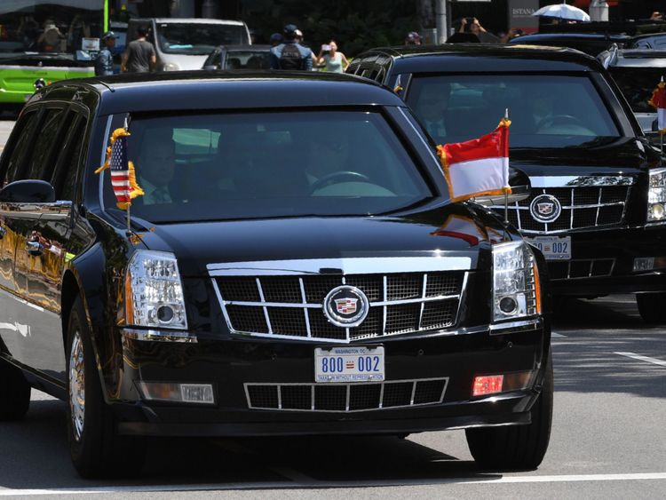 The motorcade transporting US President Donald Trump drives towards the Istana, the official residence of the Singaporean prime minister, for a bilateral programme ahead of the US-North Korea summit in Singapore on June 11, 2018