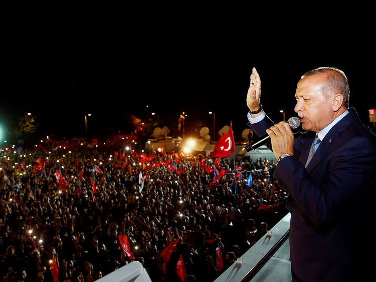 Recep Tayyip Erdogan addresses his supporters in Istanbul