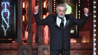 Trump fan waves flag to disrupt De Niro stage show