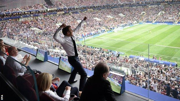 French president Emmanuel Macron celebrates victory in the World Cup final
