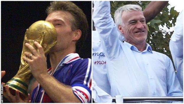 Didier Deschamps celebrating as a captain and as a manager