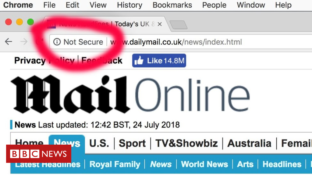 Chrome browser flags Daily Mail and other sites as 'not secure'