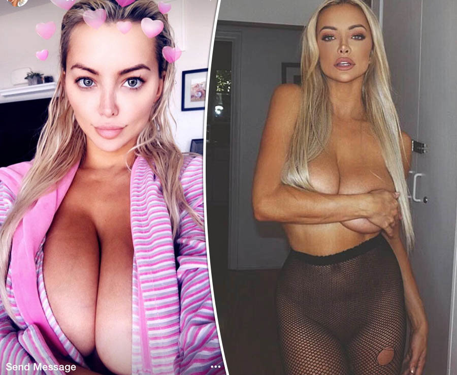 Braless Lindsey Pelas lets it all hang out in daring cut-out dress
