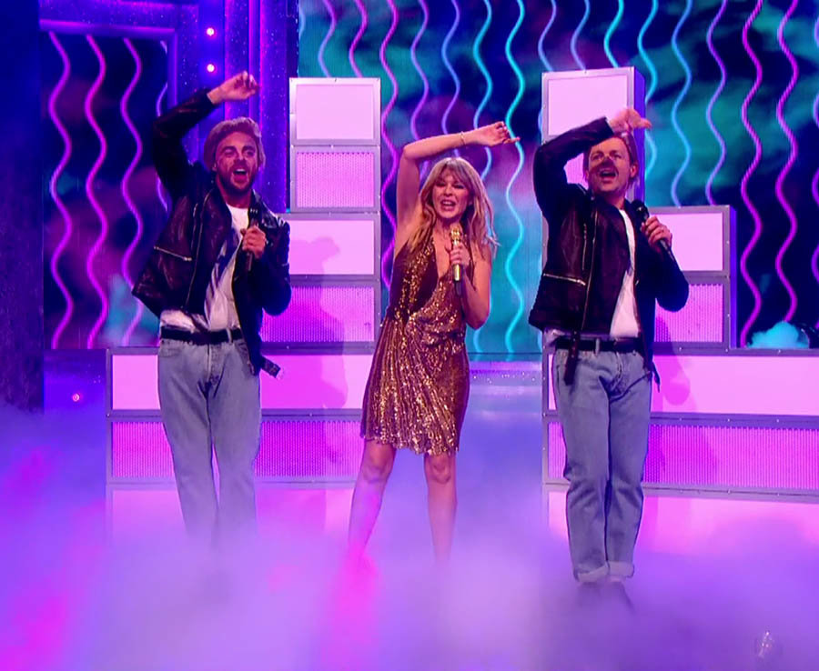 Ant and Dec perform with Kylie Minogue on Ant and Dec's Saturday Night Takeaway